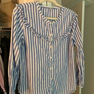 Blue and white striped button down